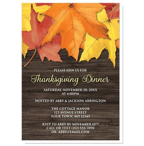 rustic autumn leaves wood thanksgiving invitations online at