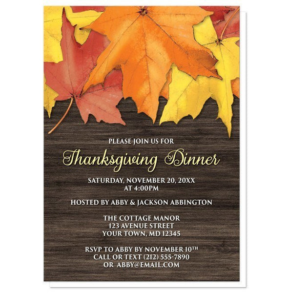 Rustic Autumn Leaves Wood Thanksgiving Invitations - Artistically Invited