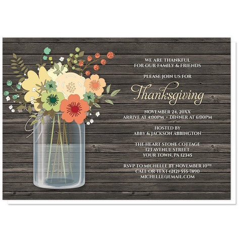 Rustic Floral Wood Mason Jar Thanksgiving Invitations - Artistically Invited