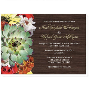 Autumn Floral Bouquet Wood Wedding Invitations - Artistically Invited