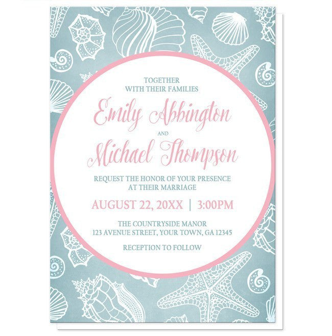 Blue Seashell Pink Beach Wedding Invitations - Artistically Invited