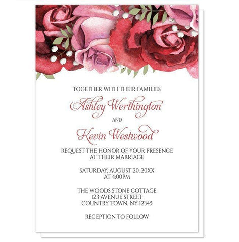 Burgundy Red Pink Rose Wedding Invitations - Artistically Invited