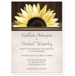 Country Sunflower Over Wood Rustic Wedding Invitations - Artistically Invited