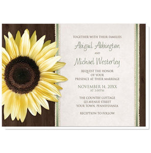 Country Sunflower Wood Brown Green Wedding Invitations - Artistically Invited