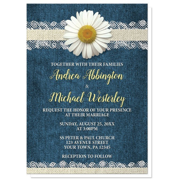 Daisy Burlap and Lace Denim Wedding Invitations - Artistically Invited