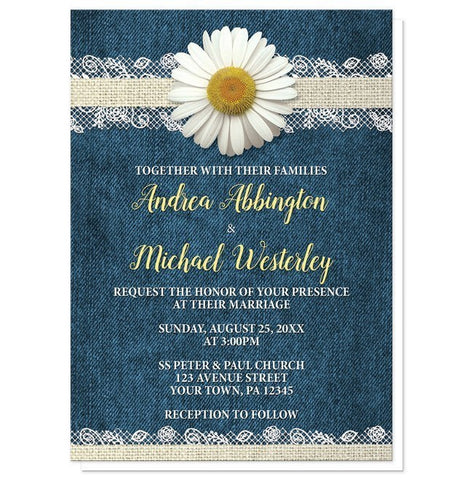 Invitations - Wedding Invitations - Daisy Burlap And Lace Denim