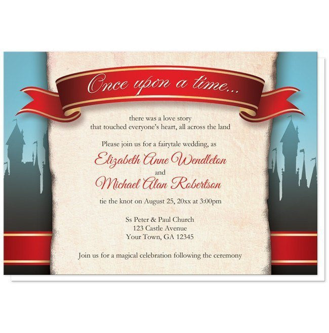 fairytale castle red once upon a time wedding invitations at artistically invited - Fairy Tale Wedding Invitations