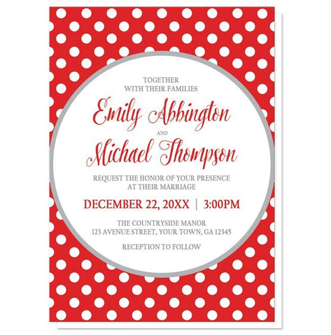 Gray and Red Polka Dot Wedding Invitations - Artistically Invited