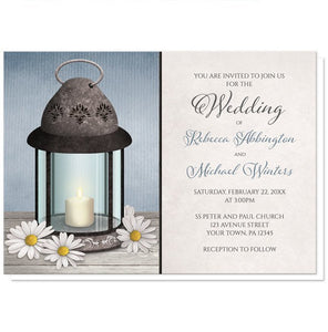Lantern Daisy Rustic Blue Wedding Invitations - Artistically Invited