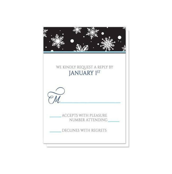 Midnight Snowflake Winter Wedding Invitations - Artistically Invited