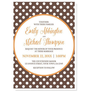 Orange Brown Polka Dot Wedding Invitations - Artistically Invited