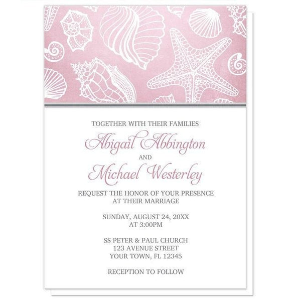Pink Beach Seashell Pattern Wedding Invitations - Artistically Invited