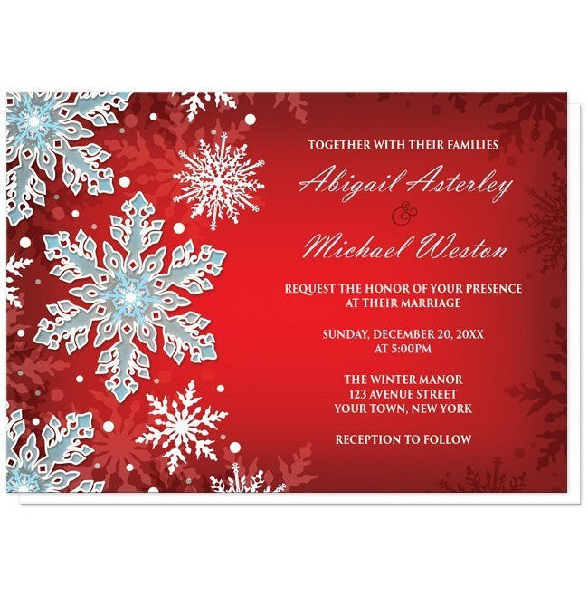 royal red white blue snowflake wedding invitations online at