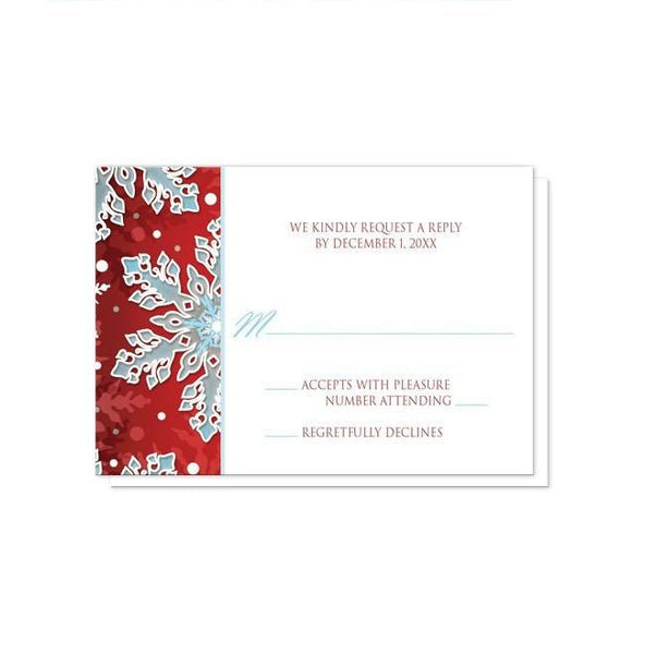 Royal Red White Blue Snowflake Wedding Invitations - Artistically Invited