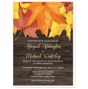 Rustic Autumn Leaves Wood Wedding Invitations - Artistically Invited