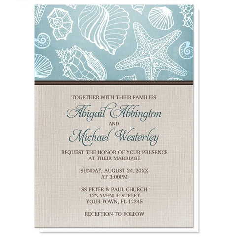 Rustic Beach Linen Wedding Invitations - Artistically Invited