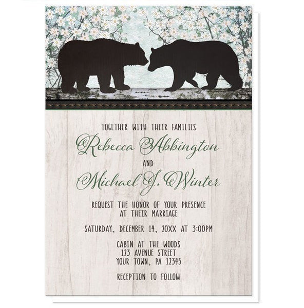 Rustic Bear Spring Floral Wedding Invitations - Artistically Invited