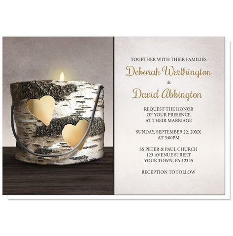 Rustic Birch Candle Hearts Wedding Invitations - Artistically Invited