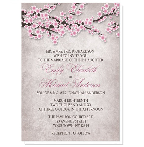 Rustic Cherry Blossom Pink Wedding Invitations - Artistically Invited