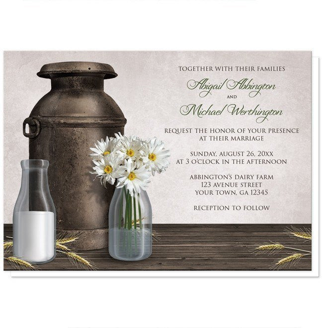 Rustic Country Dairy Farm Wedding Invitations - Artistically Invited