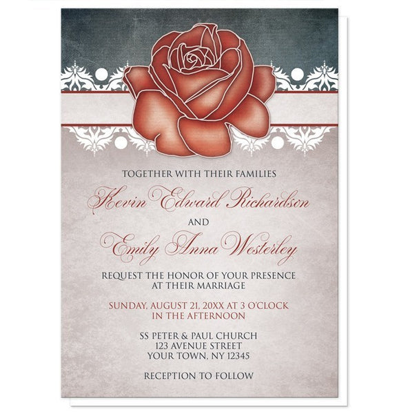 Rustic Country Rose Blue Wedding Invitations - Artistically Invited