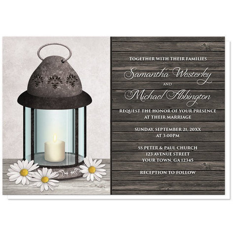 Rustic Daisy Lantern Wood Wedding Invitations - Artistically Invited