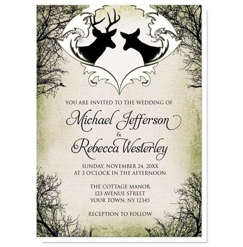 Deer Wedding Invitations - Rustic Deer Frame Canvas Wedding Invitations at Artistically Invited