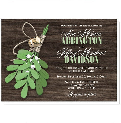 Rustic Mistletoe and Wood Wedding Invitations - Artistically Invited