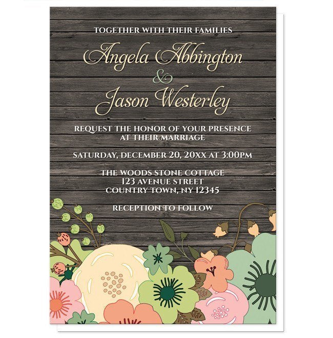Rustic Orange Teal Floral Wood Wedding Invitations - Artistically Invited