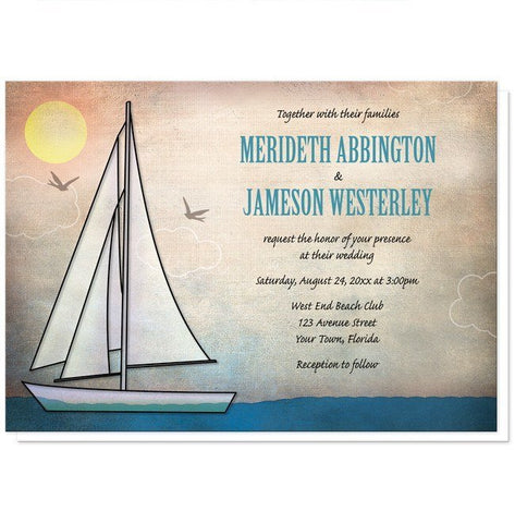 Rustic Sailboat Nautical Wedding Invitations - Artistically Invited