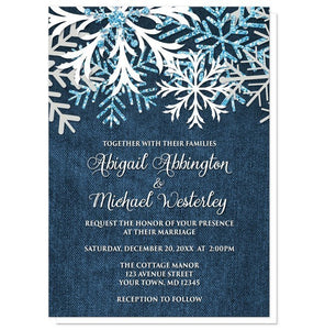 Rustic Snowflake Denim Winter Wedding Invitations - Artistically Invited
