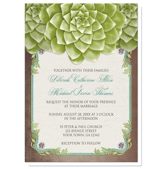 Rustic Succulent Garden Wedding Invitations - Artistically Invited
