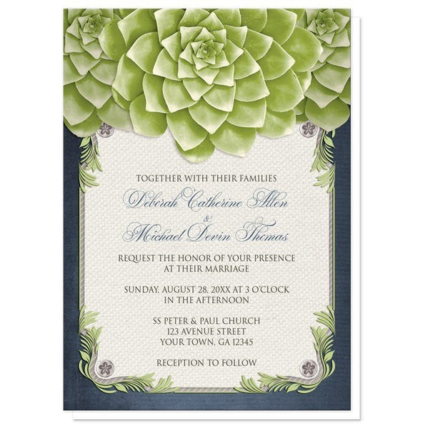 Rustic Succulent Garden Navy Wedding Invitations - Artistically Invited