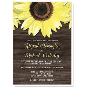 Rustic Sunflower and Wood Wedding Invitations - Artistically Invited