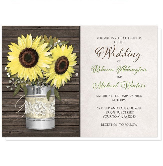 Sunflower Burlap and Lace Tin Can Wedding Invitations at