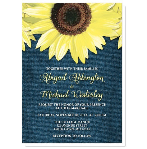 Rustic Sunflower and Denim Wedding Invitations - Artistically Invited