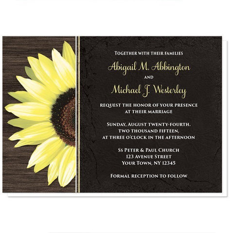 Rustic Sunflower with Black Wedding Invitations - Artistically Invited