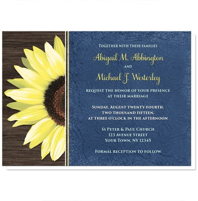 Rustic Sunflower with Blue Wedding Invitations online at ...