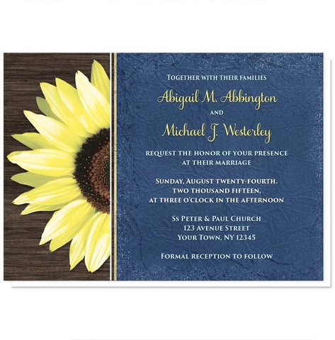 Rustic Sunflower with Blue Wedding Invitations - Artistically Invited