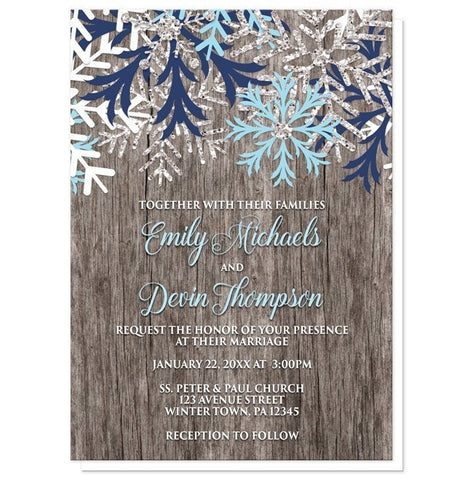 Rustic Winter Wood Navy Aqua Snowflake Wedding Invitations - Artistically Invited