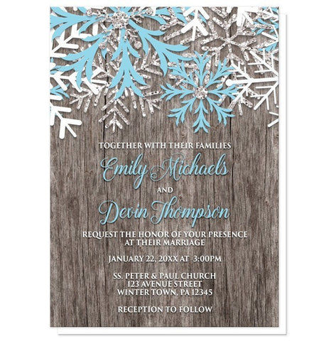 Rustic Winter Wood Snowflake Wedding Invitations - Artistically Invited