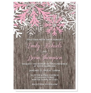 Rustic Winter Wood Snowflake Pink Wedding Invitations - Artistically Invited