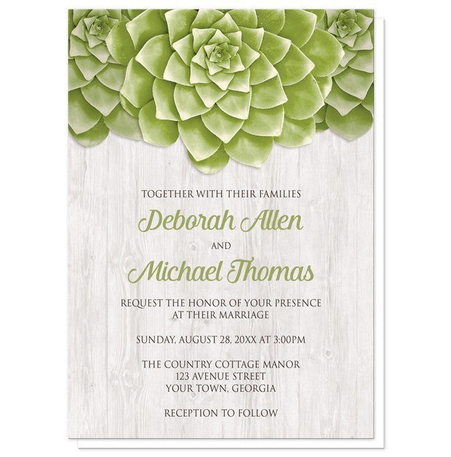 Succulent Whitewashed Wood Wedding Invitations - Artistically Invited