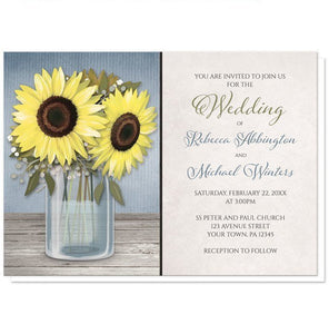 Sunflower Rustic Mason Jar Blue Wedding Invitations - Artistically Invited