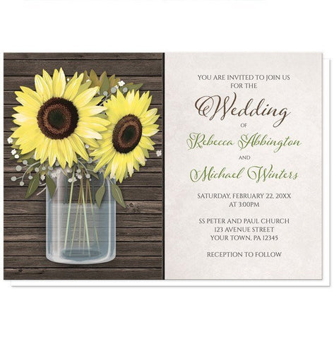Sunflower Rustic Wood Mason Jar Wedding Invitations - Artistically Invited
