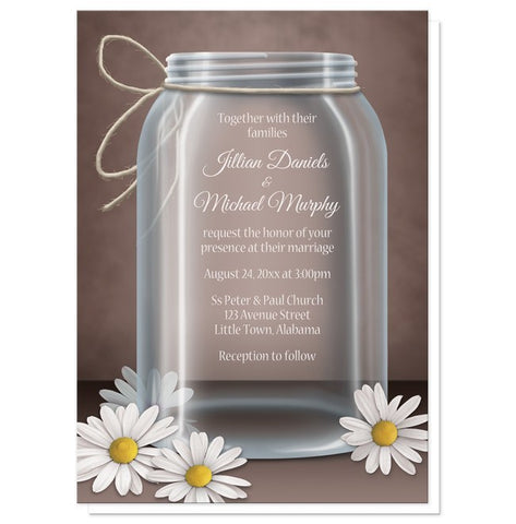 Vintage Rustic Mason Jar Daisy Wedding Invitations - Artistically Invited