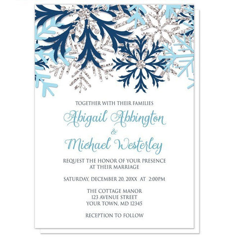 Winter Blue Silver Snowflake Wedding Invitations