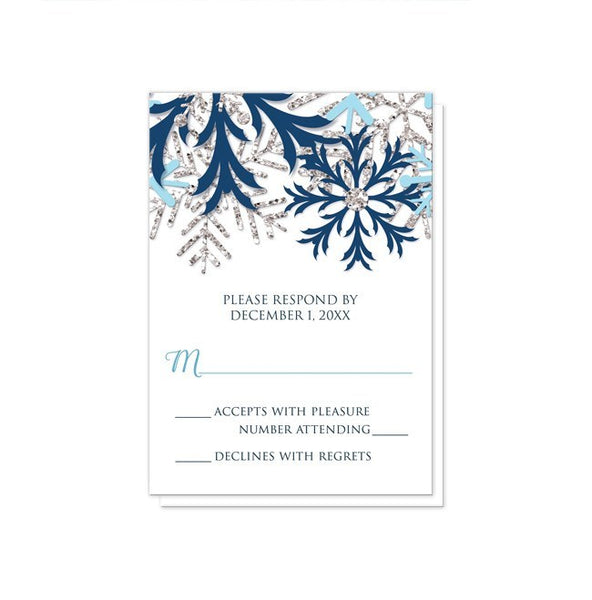 Winter Blue Silver Snowflake Wedding RSVP