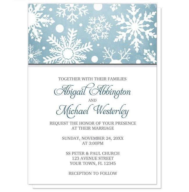 Winter Snowflake Blue with Gray Wedding Invitations - Artistically Invited