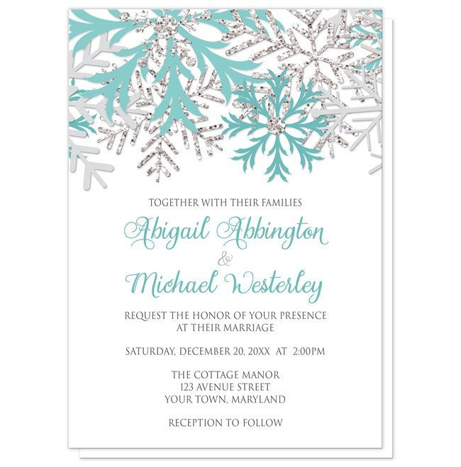 Winter Teal Silver Snowflake Wedding Invitations - Artistically Invited